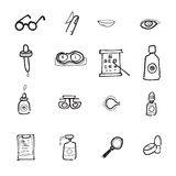 Eye and contact lens icons set Stock Photo