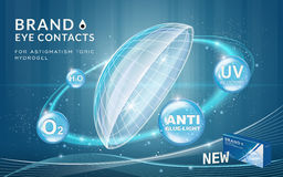 Eye contacts ads template. Contact lenses with sparkling ring effects and advantages on blue bubbles. Product ads and package design in 3d illustration stock illustration