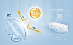 Eye contacts ads template. UV blocking contact lenses. Product ads and package design in 3d illustration royalty free illustration