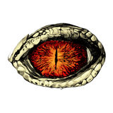 Eye of a crocodile. Or reptile closeup, sketch  graphics colored drawing red eyes Stock Images