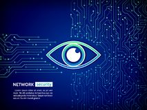 Eye cyber security concept. Network data protection background. Abstract high tech circuit board. Eye cyber security concept. Network data protection background Stock Photography