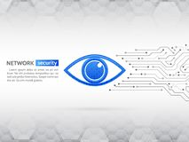 Eye cyber security concept. Network data protection background. Abstract high tech circuit board. Search and analysis of information Stock Photos