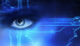 Eye. 3d eye with circuit board Royalty Free Stock Photos