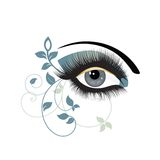 Eye decorative. Decorative Eye with makeup and foliage leements teal colors Stock Images