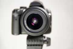 Eye of a digital camera in photo studio. Lens close up Stock Photo