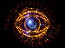 Eye of digits. Composition of eye outlines, numbers, fractal and abstract design elements suitable as a backdrop for the projects on modern technologies Royalty Free Stock Images