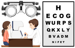Eye doctor and patient Stock Images