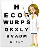Eye doctor pointing at the alphabet chart Stock Images