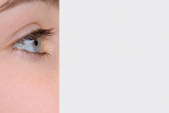 Eye Dominating Photo of Woman's Face Stock Photos