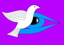 Eye on the dove of peace. Illustration of an eye looking towards a dove of peace isolated  on a purple background Stock Image