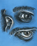 Eye Drawings. This is a drawing on blue paper of the human eye royalty free illustration