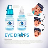 Eye drop bottle. young man applying eye drop to his eye. how to. Applying eye drop concept. typograohic - illustration stock illustration