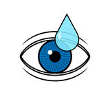 Eye with a drop illustration. Eye drop applies to eye icon Stock Images