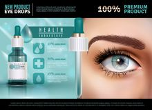 Eye Drops Realistic Advertising Poster. Eye drops in glass vial with pipette realistic poster with product advertising 3d vector illustration Royalty Free Stock Images