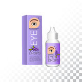 Eye drops realistic package and container. Plastic container with soothing eye drops. stock illustration