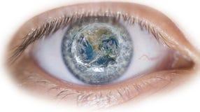 Eye with earth image Stock Photography