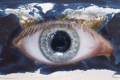Eye and earth map Stock Photos