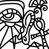 Eye and Egyptian symbols in black and white Royalty Free Stock Image