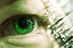 Eye and electronic. Green circuit Stock Photo