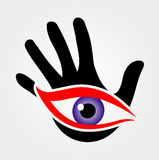 Eye emerging from palm Royalty Free Stock Images