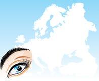 Eye en un fondo la correspondencia de Europa Foto de archivo libre de regalías