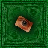 Eye en un vórtice cuadrado del código binario Imágenes de archivo libres de regalías
