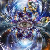 The Eye of Eternity. Spiral of time and endless multiverse. Human elements were created with 3D software and are not from any actual human likenesses vector illustration