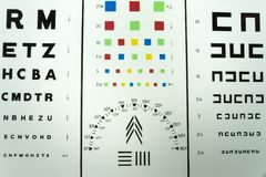 Eye exam chart Royalty Free Stock Images