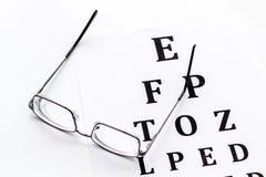Eye examination. Eyesight test chart and glasses on white background stock photos