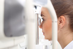 Eye examination. The patient during an eye examination at the eye clinic Stock Photography