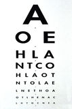 Eye examination - Snellen chart. Eye examination - Traditional Snellen chart used for visual acuity testing. concept photo of health and medical care Royalty Free Stock Photos