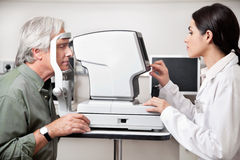 Eye Examination Through Visual Field Test Royalty Free Stock Photos