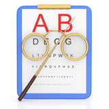Eye exams. Concept on white. 3d rendered image Stock Image