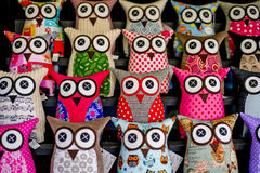Eye Eye. Soft bright coloured toy owls Stock Photo