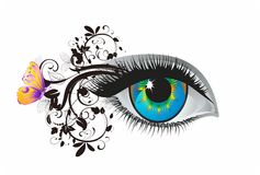 Eye and eyelashes, Royalty Free Stock Images