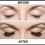EYE AND FALSE EYELASHES. Close Beautiful eyes with natural eyelashes to and false eyelashes after stock images