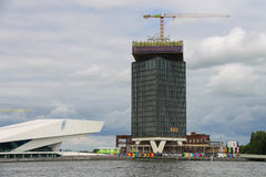 EYE Film Institute and Overhoeks Tower in Amsterdam, Netherland Royalty Free Stock Image