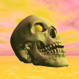 Eye of fire - 3D render. Close up on skull with burning eyes in yellow background Stock Image