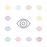 Eye flat icons set Royalty Free Stock Image