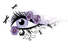Eye, floral, beautiful, spring. Vector illustration of beautiful eye, pansy and dragonflies EPS 10 Stock Photo