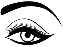 Eye with fluffy eyelid. Black and white hand drawing vector illustration Royalty Free Stock Photos