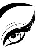 Eye with fluffy eyelid close-up. Black and white hand drawing vector illustration Royalty Free Stock Photo