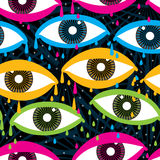 Eye fly seamless pattern. Illustration abstract colorful eye fly drop background star shining seamless pattern graphic texture wallpaper Royalty Free Stock Photography