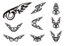 Tribal stylized eye in the eagle form and double symbols from it Stock Images