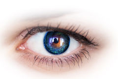 Eye and galaxy. Concept photo. Royalty Free Stock Photo