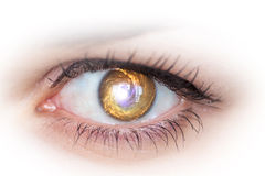 Eye and galaxy. Concept photo. Royalty Free Stock Image