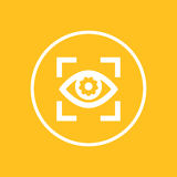 Eye with gear icon in circle Stock Photography