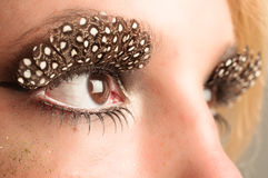Eye of a girl with extreme makeup Stock Image
