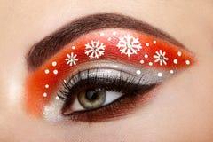 Eye girl makeover snowflakes Stock Image