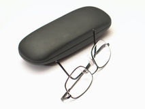 Eye Glasses. Next to its case royalty free stock images